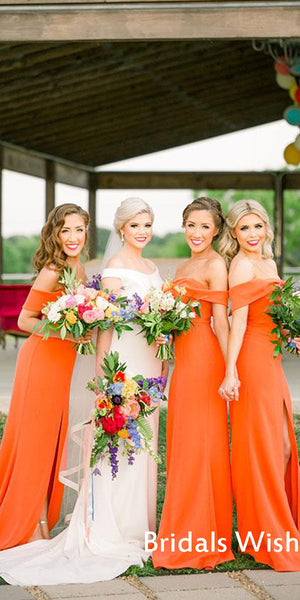 Pretty Orange Off-shoulder  Side Slit long bridesmaid Dress BW0414