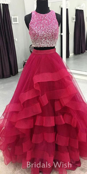 Pretty Red Beading  Jewel Tulle Ruffles Long Prom Dress  BW0413