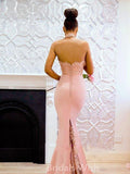 Beautiful Pink Mermaid Lace Top High-neck Backless Long Prom Dress BW0415