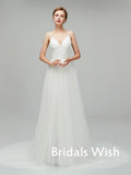Cheap Spaghetti Strap  V-neck  Satin &Tulle    Wedding Dress ,Cheap Weeding dresses EW0244