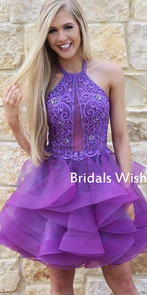 Beautiful Purple Beading&Tulle Halter Homecoming Dress ,Short Homecoming Dresses EW0228