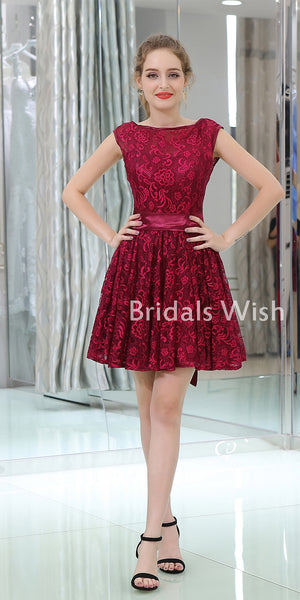 Pretty Bateau-neck  Lace Backless Short Dress With Belt ,Homecoming Dress EW0208