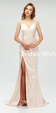 Affordable V-neck  Spaghetti Strap Side  Slit  Mermaid Bridesmaid dresses, Long  Bridesmaid Dress EW0236