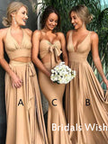 Cheap Sexy V-neck Gold Side Slit Long Bridesmaid Dresses, Bridesmaid Dresses EW0232
