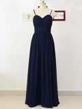 Elegant Navy Blue Sweet Heart Spaghetti Strap Long Bridesmaid Dresses , BW0139