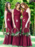 Stunning Mismatched Mermaid Sleeveless Floor-length Bridesmaid Dresses, BW2708