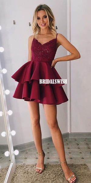 Spaghetti Straps A-line Lace V-neck Homecoming Dress ,Short Homecoming Dresses, BW2729