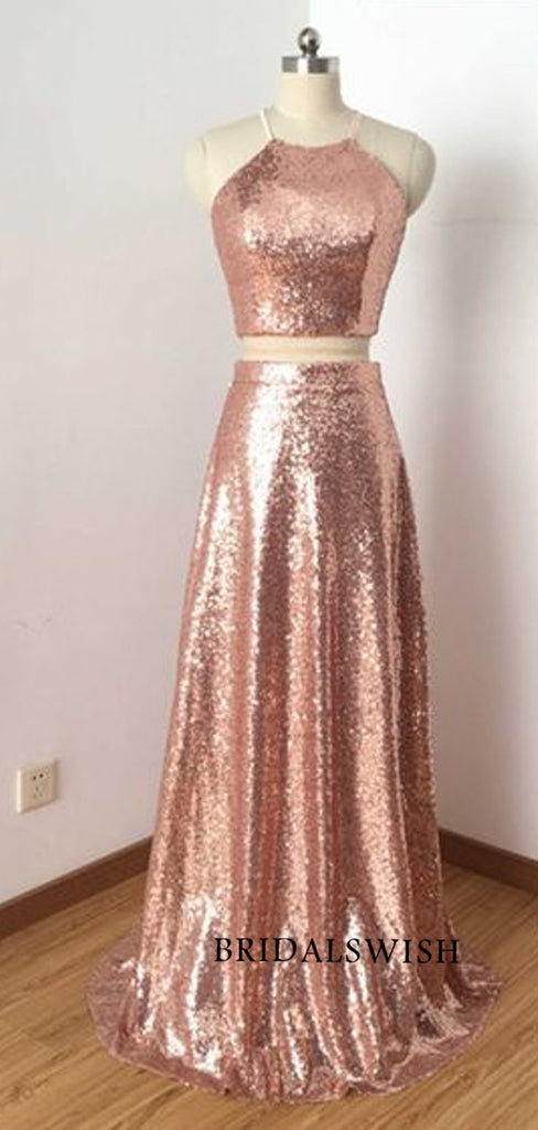 2 pieces sequin sleeveless open back long prom dresses cheap evening dresses BWH057
