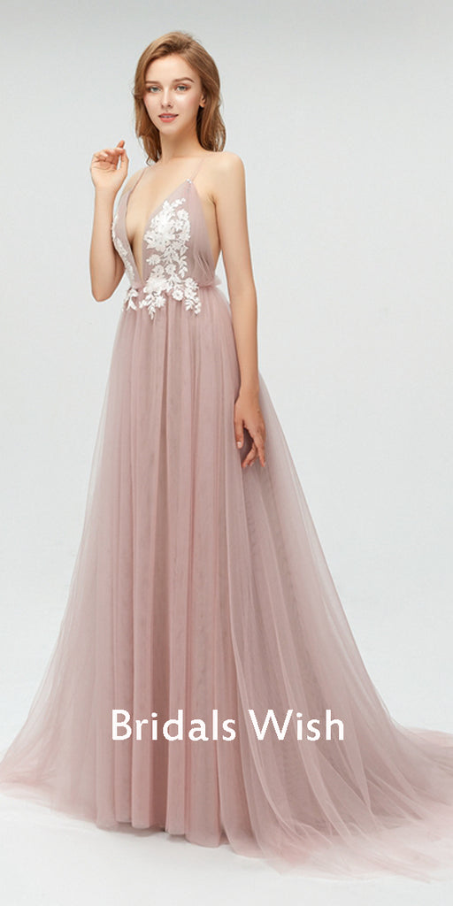 Affordable V-neck  Spaghetti Strap Applique  Tulle Bridesmaid dresses, Long  Bridesmaid Dress EW0235