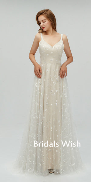 Pretty A-line Lace &Applique  V-Neck Spaghetti Strap Backless   Wedding Dress EW0241
