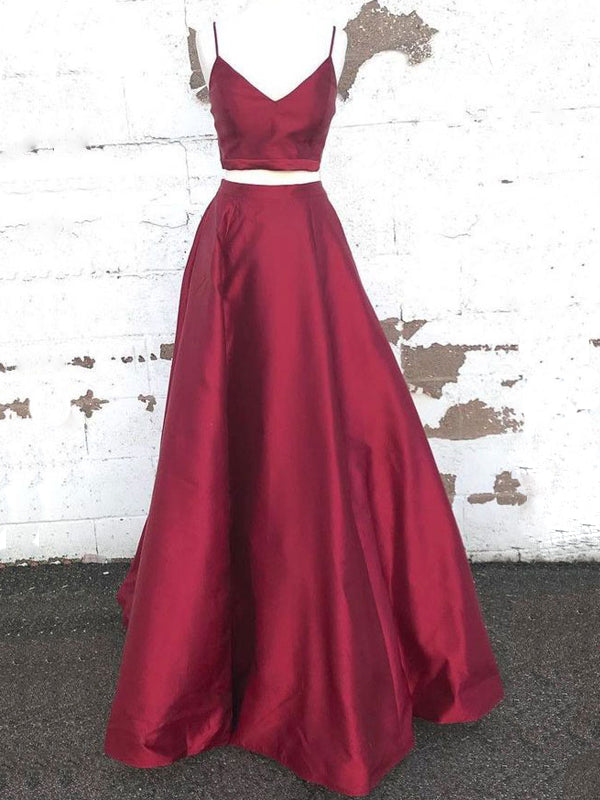 Elegant Burgundy Satin Spaghetti Strap Floor Length Evening Prom Dresses, BW0551