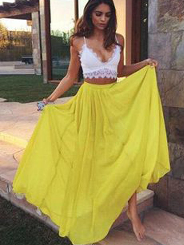 Two Pieces lace top V-Neck White&Yellow Long Evening Prom Dresses, BW0116