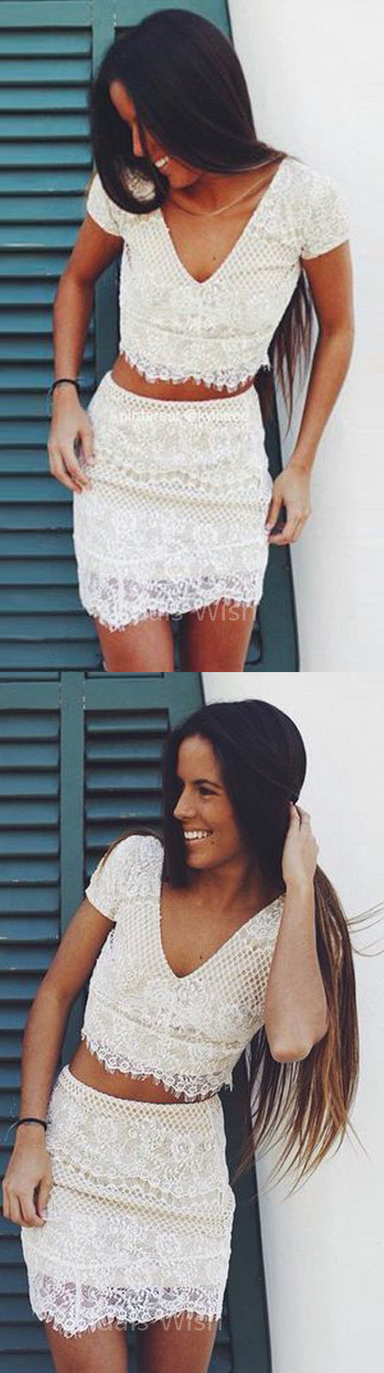 Pretty White Two Pieces Lace V-Neck Short Homecoming Dresses, BW0356
