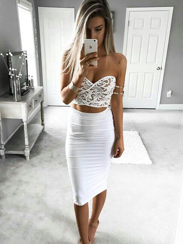 Chic Two Pieces White Lace Top Knee Length Homecoming Dresses, BW0517