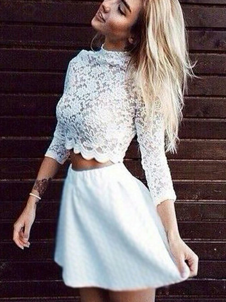 Popular Two Pieces White Lace Top Long Sleeves Short Homecoming Dresses, BW0218