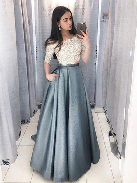 Two Pieces Lace Top Half Sleeves Blue Long Evening Prom Dresses, BW0238