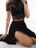 Two Pieces lace top Illusion Spaghetti Strap Side Slit Long Evening Prom Dresses, BW0107