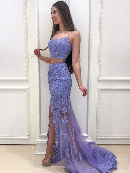 2 Pieces Mermaid Lace Backless Slit Tulle Long Prom Dresses, BW3786
