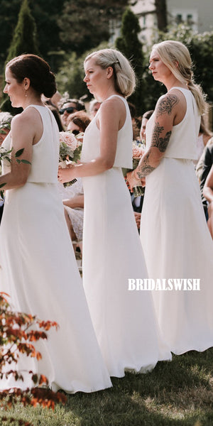 Elegant Two Pieces Sleeveless Chiffon A-line Backless Bridesmaid Dresses, BW3878