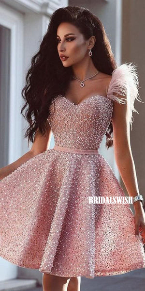 Sparkly Sweetheart A-line Beaded Homecoming Dress, BW3886