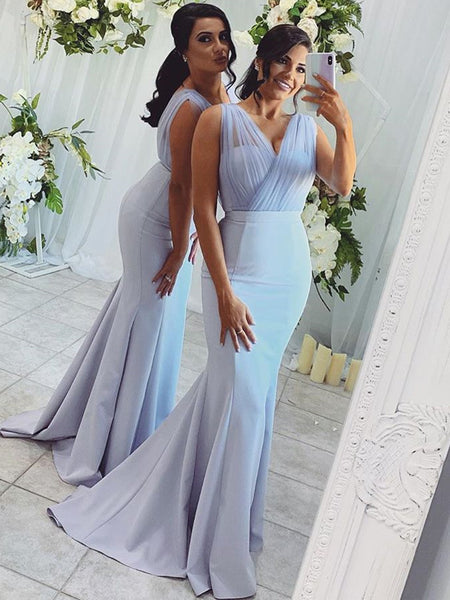 Mermaid Sleeveless Tulle Charming Long Bridesmaid Dresses, BW3894