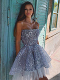 Sparkly Sequin Tulle A-line Backless Hi-Lo Homecoming Dress, BW3906