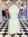 Stunning Open-back Beaded Sleeveless Lace Homecoming Dress, BW3932