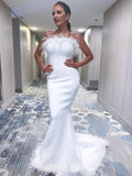 White Mermaid Sleeveless Long Straight Neckline Backless Prom Dresses, BW3942