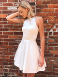 Honest A-line Satin Sleeveless Tulle Beaded Homecoming Dress, BW3943