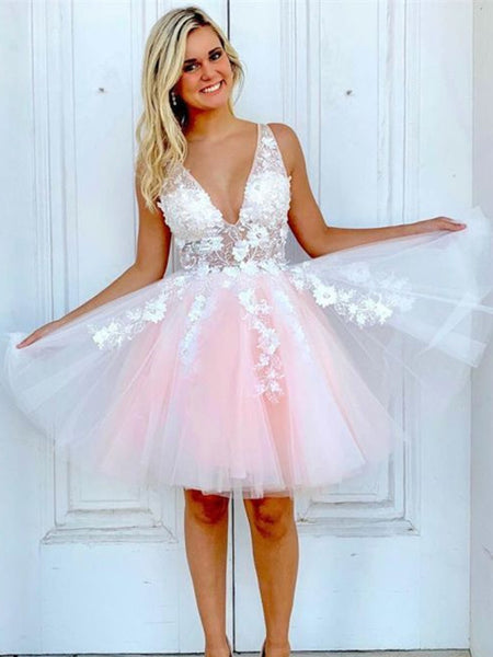 Charming A-line Tulle V-neck Lace Sleeveless Homecoming Dress, BW3952