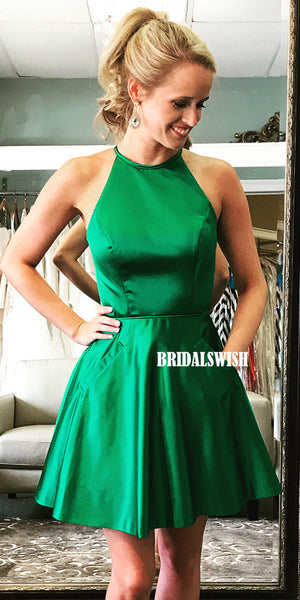 Green A-line Satin Sleeveless Beaded Homecoming Dress with Pockets, BW3954