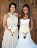Simple Halter Mismatched Long Bridesmaid Dresses, BW0252