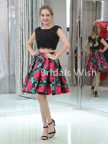 Pretty Black Rhinestone Top Two Piece Flowers Homecoming Dress EW0204