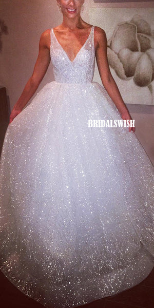 Beautiful Sparkly Sequin A-line V-neck Backless Prom Dresses, BW4024