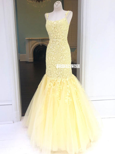 Gorgeous Lace Mermaid Sleeveless Tulle Cross-back Long Prom Dresses, BW4340