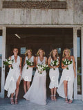 Mismatched V-Neck & Spaghetti Strap Bridesmaid Dresses , BW0454