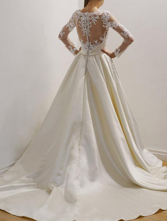 Cheap See Through Lace Long Sleeve Wedding Dresses Online, BW0003