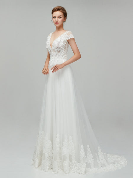 Popular   V-neck  Lace &Applique Tulle Short Sleeves Wedding Dress ,Cheap Weeding dresses EW0249