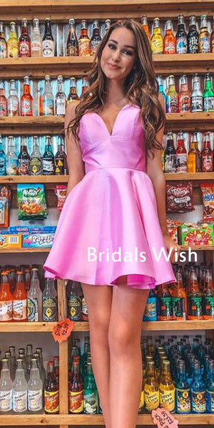 Pink V-neck Satin A-line Short Homecoming Dress ,Homecoming Dresses EW0226