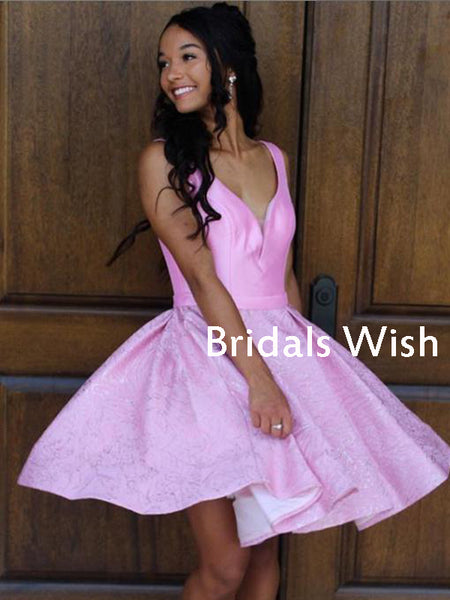 Pink Satin &Lace A-link Spaghetti Strap Homecoming Dress ,Short Homecoming dressesEW0227
