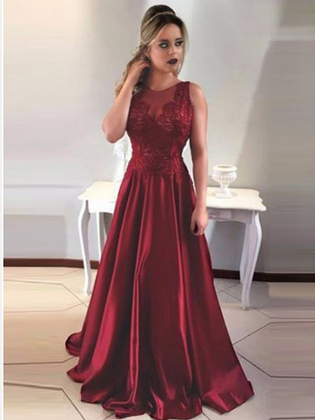 Burgundy Lace Top Open Back Floor Length Long Evening Prom Dresses, BW0341