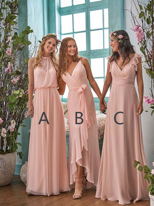 Pretty Pink Chiffon Halter & Spaghetti Strap V-Neck Long Bridesmaid Dresses, BW0175
