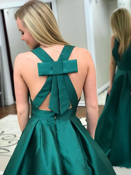 Simple Cheap Emerald Green A-line Long Evening Prom Dresses, BW0002