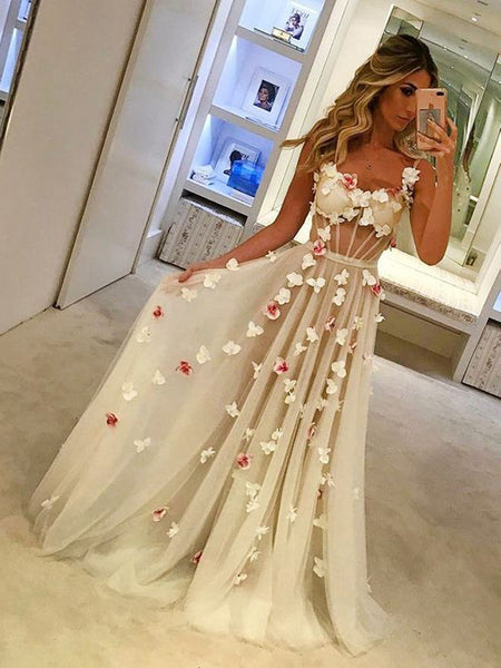 Unique White Spaghetti Strap Applique Long Evening Prom Dresses, BW0108
