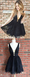 A-Line Deep V-Neck Knee-Length Sleeveless Black Short Homecoming Dresses, BW0043