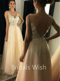 V-Neck Applique Beaded Long A-line Tulle Long Evening Prom Dresses, BW0079