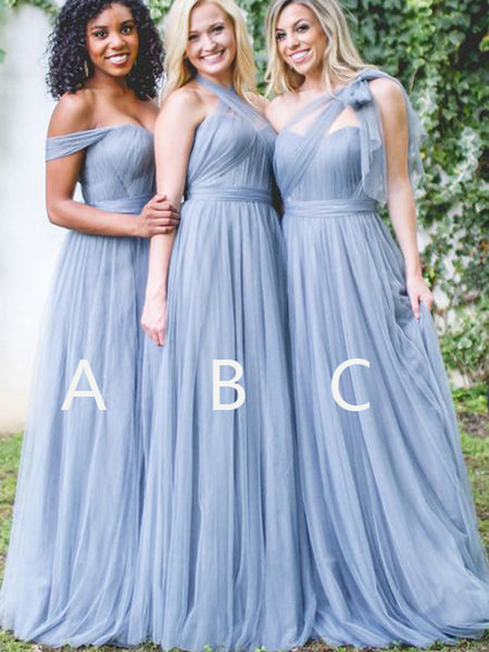 Light Blue Halter & Off the Shoulder & One Shoulder Long Bridesmaid Dresses, BW0156