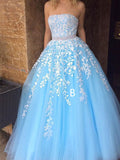 Pretty Lace Applique Long Evening Prom Dresses, BW0626
