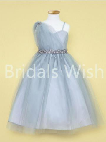 Blue One Shoulder Tulle Rhinestone Waistband Flower Girl Dresses , BW0020