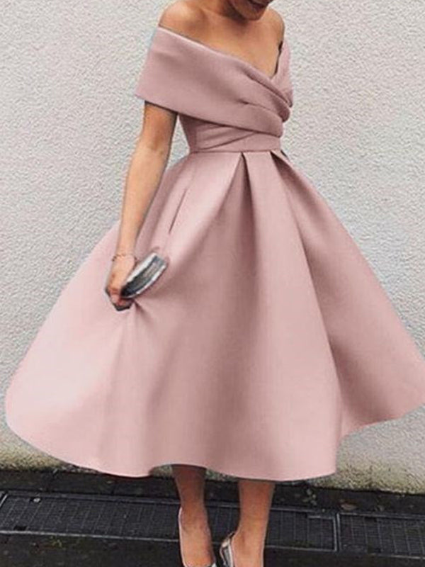 Popular Dusty Pink Off the Shoulder Tea Length Short Homecoming Dresses, BW0207